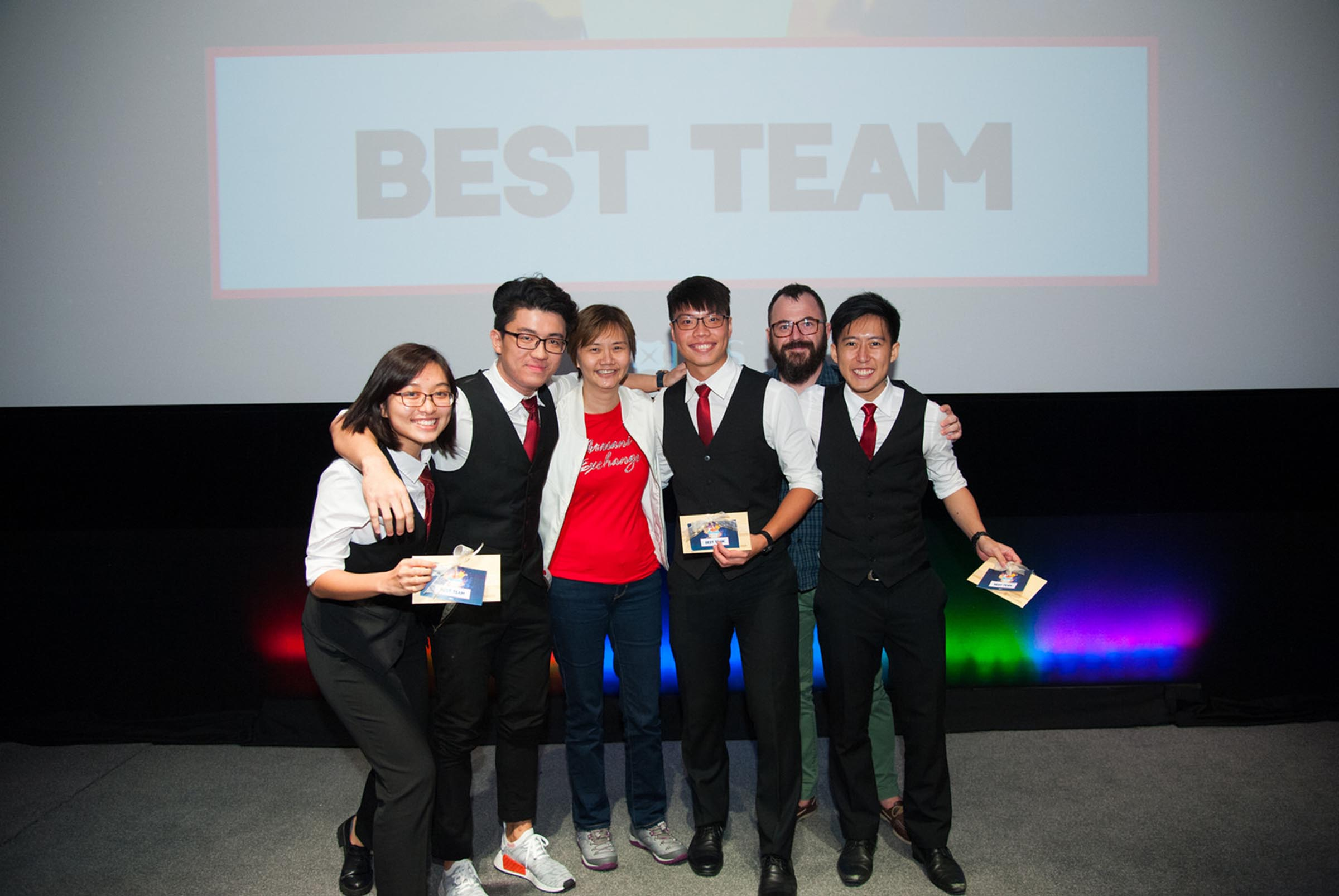 Jonathan Goh (fourth from left) and his team picked up the Best Team prize on Demo Day. Photo: DBS